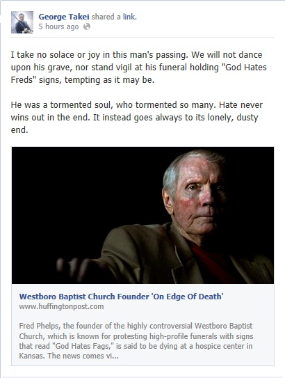 George Takei on Fred Phelps